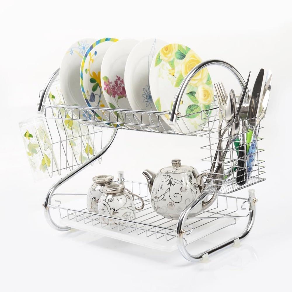 Space Saving Dish Rack Aliexpresscom Buy S Shaped Dish Rack Set 2 Tier Chrome