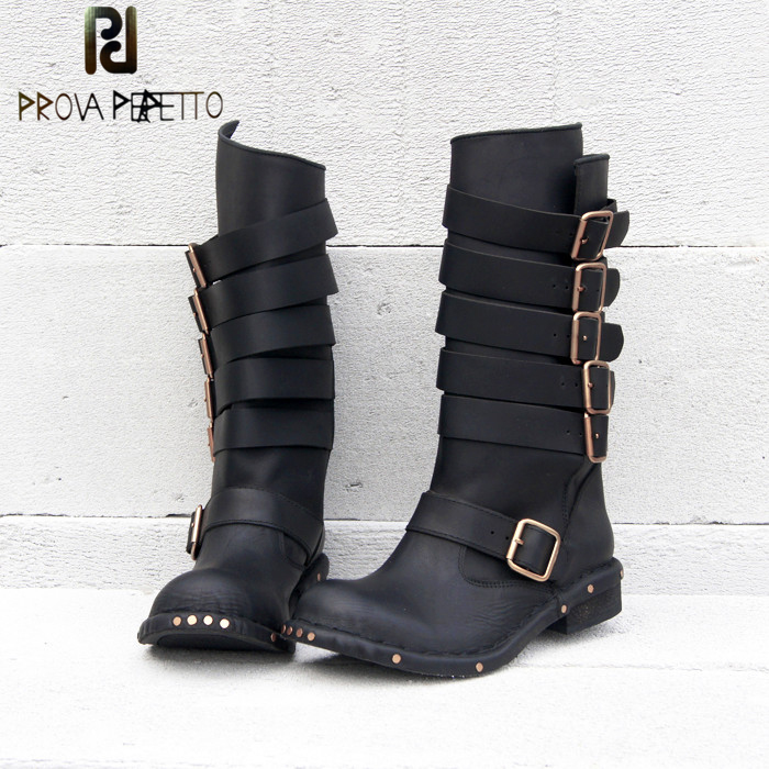 Prova Perfetto Genuine Leather Belt Buckle Women Short Boots Round Toe Square Low Heel Do Old Style Side Zipper Female Flat Boot prova perfetto winter women warm snow boots buckle straps genuine leather round toe low heel fur boots mid calf botas mujer
