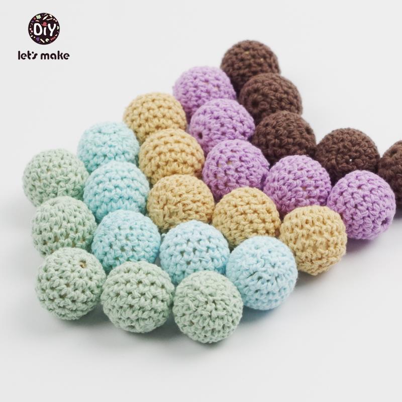 Prix pour Let's Faire 26 couleur peut choisir 20 pc 20mm-en bois crochet coton perles-bleu kaki ronde-crochet boule perles crochet-embellissement