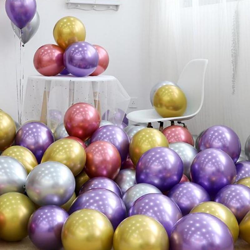 10PCS  silver gold pink Metallic Latex Balloons Pearly Metal balloon Gold Colors Globos Wedding Birthday Party Supplies Balloon