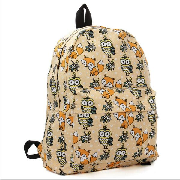 цены DISCOUNT Kople 2017 Cartoon Owl Fox Girl/Boy Student Shoulder Bag Fashion Women Travel Satchel Canvas School Backpack