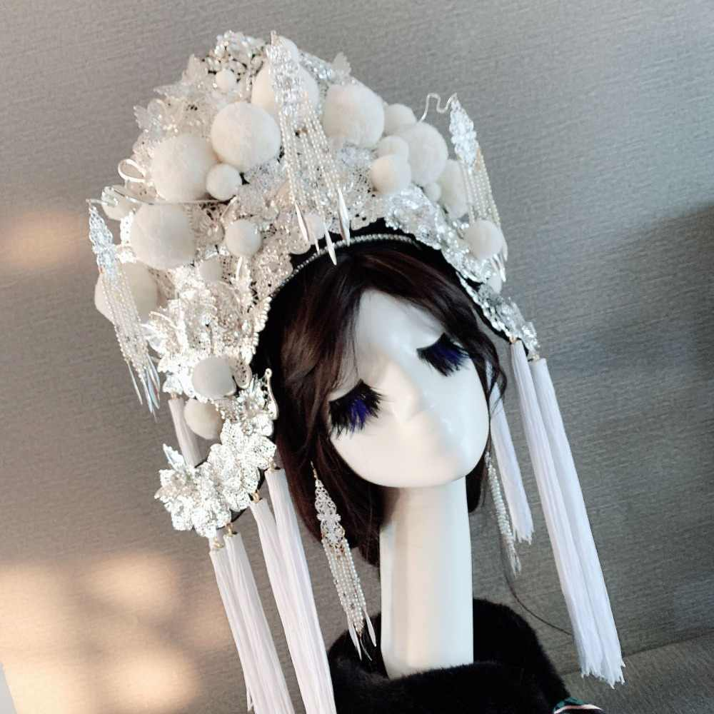 c800799f0 white empress hat for women queen cosplay supplies performance hat vintage Hats  china opera cap princess