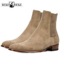 Роскошные брендовые ботинки «Челси» ручной работы с острым носком из натуральной кожи, мужские ботильоны в деловом стиле, модная обувь с вы