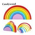 7 unids/lote arco iris de colores de madera bloques de construcción de juguetes de bloques de madera conjunto círculo color del bebé tipo play juego juguete