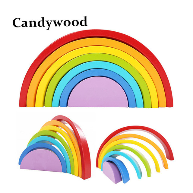 7Pcs/Lot Colorful Wood Rainbow Building Blocks Toys Wooden Blocks Circle Set Baby Colour Sort Play Game Toy