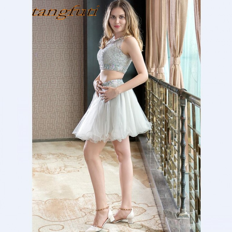 Luxury Cheap Short   Prom     Dresses   2018 With Crystals Beaded Sequin 2 Pieces   Dress   Mini   Prom   Party Gowns Cocktail Party Custom Made