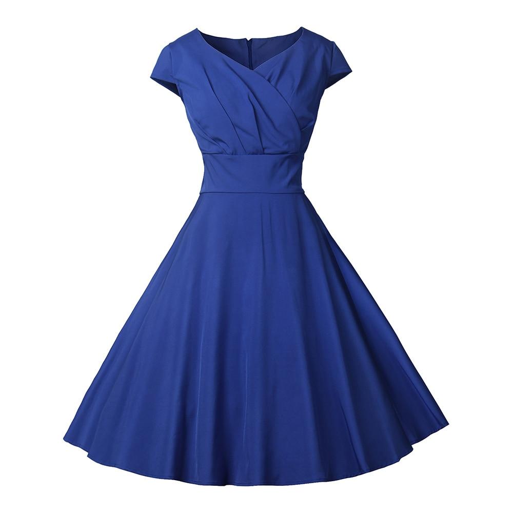 Summer Dress Women Sexy A-line Sleeveless Party Dresses 50s 60s Rockabilly Pin Up Vintage Dress Casual Blue Midi Dress