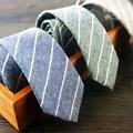 Novo Designer Marcas de Algodão de Linho 5 CM Gravata Listrada Gravata Dos Homens Magros Laços para Homens Skinny Magro Cravates Azul Café atacado