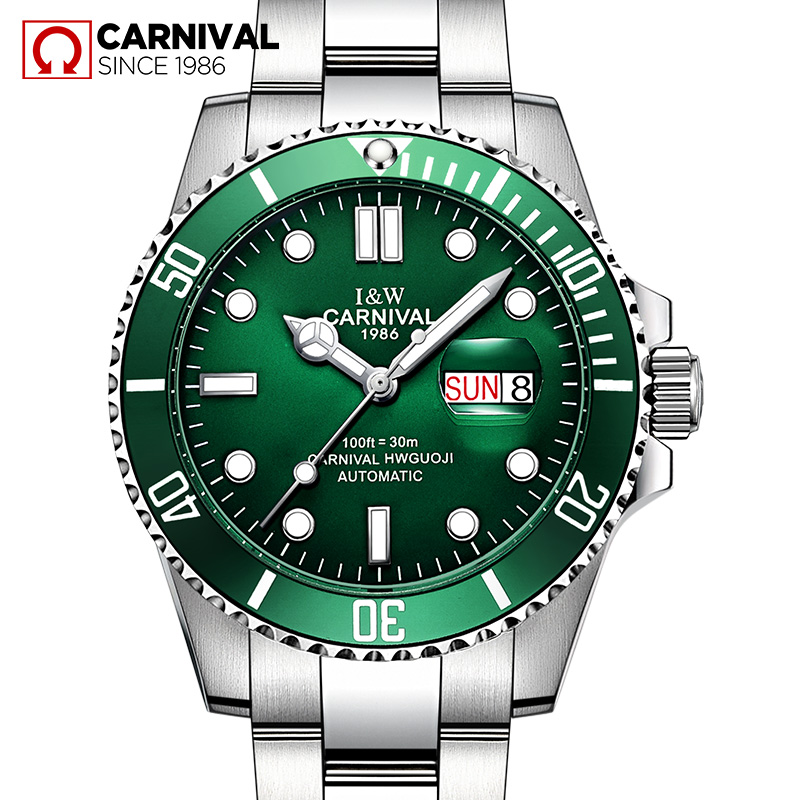 2017 CARNIVAL Submariner Collection Mens Watches Famous Topbrand Luxury Automatic Mechanical Waterproof Sports Casual Luminous famous collection rectangular ext famous collection table in darkbrown finish
