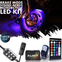 14PCS Motorcycle Car LED Under Glow Lights Strip Kit For Harley Davidson w Power Switch / Music Active / Brake Mode / 18 Colors