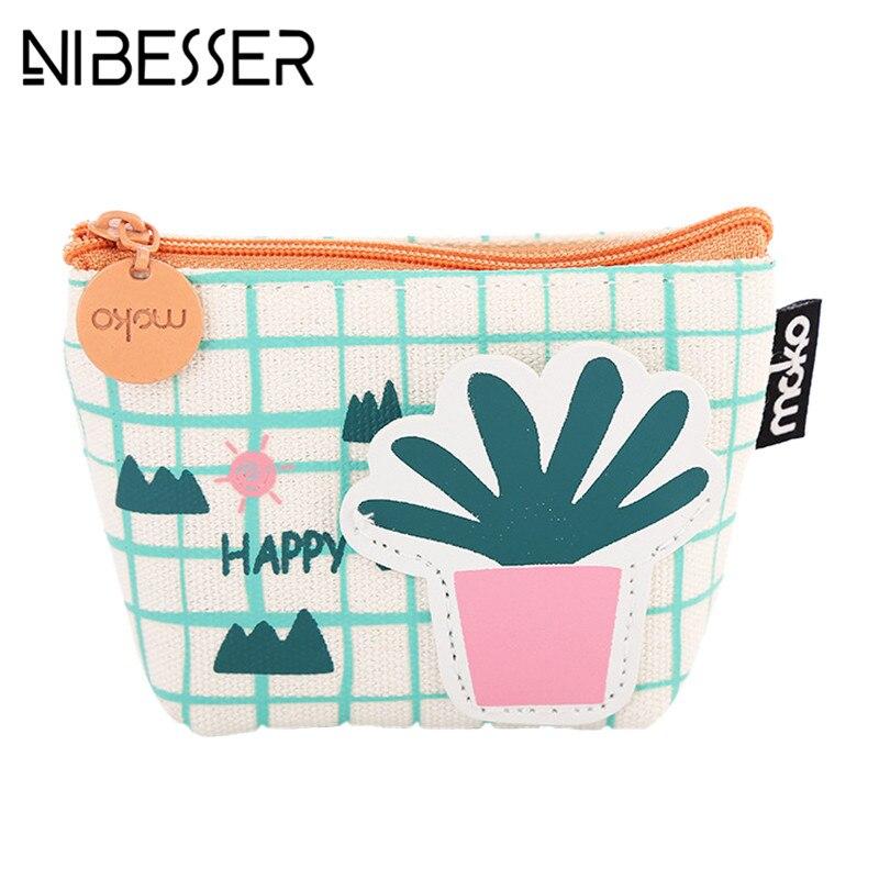 NIBESSER Cute Cartoon Print Women Bag Cactus Girls Purse Fashion Money Bag Change Pouch Coin Key Holder Portable Sweet Wallet