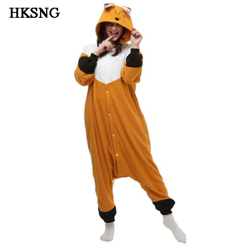HKSNG Good Quality Yellow Orange Fox Pajamas Animal Winter Unisex Party Onesie Adult Kigurumi Cosplay Costume Homewear Pyjamas