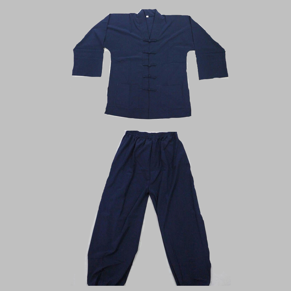 High Quality Taoist Robe Clothing Taoist Clothes Tai Chi Clothing Performance Clothing Dark Blue Double-breasted Suits