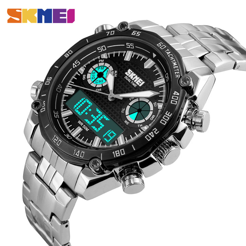 SKMEI Fashion Sports Watch Men 3Bar Waterproof Luxury Watches Stainless Steel Dual Display Wristwatches Reloj Hombre 1204