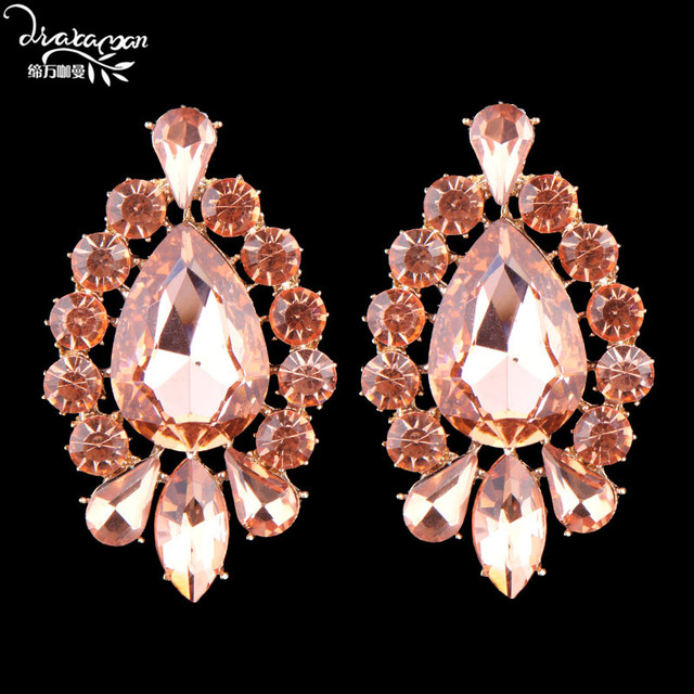 Dvacaman Brand Pink Crystal Charm Stud Earrings Flower Statement Indian Wedding Bridal Party Jewelry