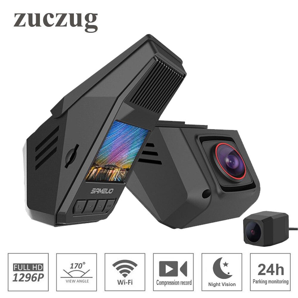 ZUCZUG 2.0 pouces universel caché voiture DVR wifi 1296 P Vision nocturne Dash Cam enregistreur sans fil double caméras enregistrement de Compression