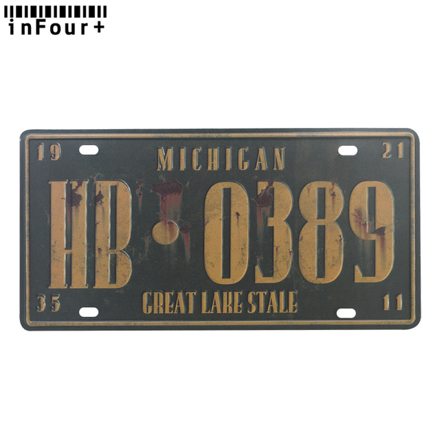USA Michigan HB089 Metal Car License Plate Vintage Home Decor Tin Sign Bar Wall Decorative Cool Plaque