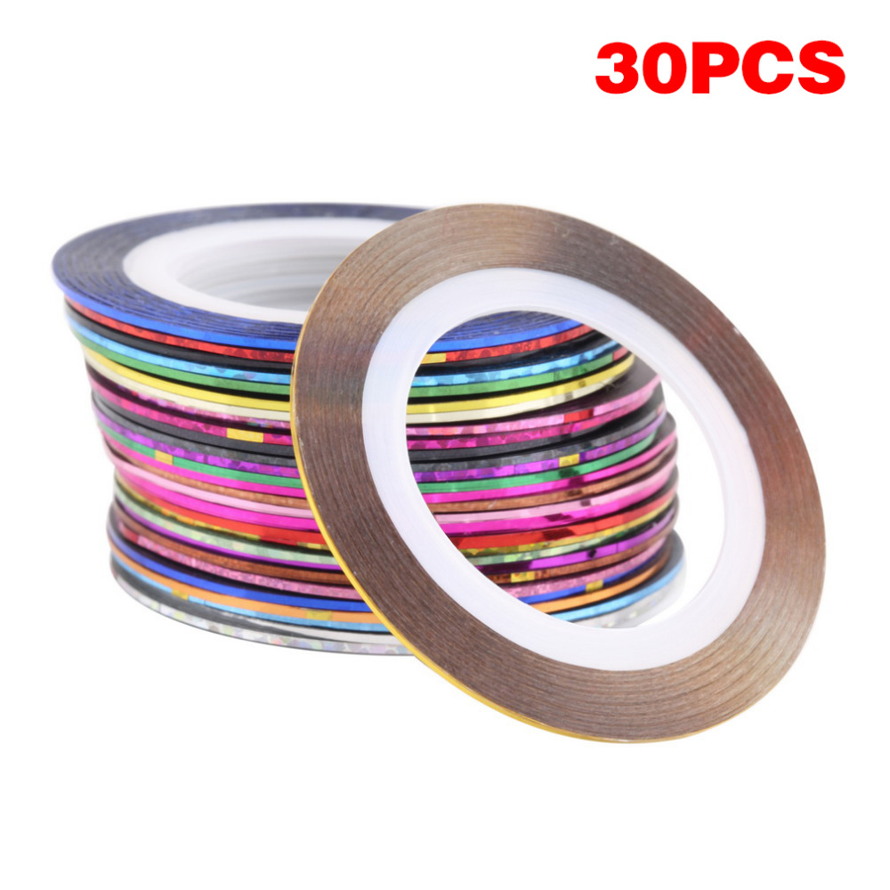 New 30 Rolls Matte Glitter Nail Striping Tape Line Set Multi Color DIY Nail Tips Nail Art Decoration Design Nail Stickers Tool 10pcs pack 2mm mix colors rolls metallic adhesive striping tape wide line diy nail art tips strip sticker decal decoration kit
