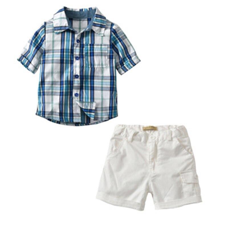 Ideacherry/Одежда для мальчиков из 2 вещей Комплект Лето Baby Blue Plaid футболка + Белые шорты джентльмен костюм малыша Повседневное пляжная одежда