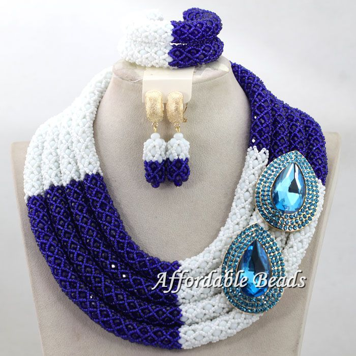 Fashion Dark Blue and White African Beads with Flower Women Jewelry Set Statement Necklace Earrings Bracelets Jewelry Sets hx018 statement alloy crochet earrings and necklace