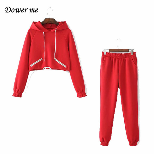 Autumn Fashion Pure Color Women Sets Casual Lucky Red Ladies Two Piece Suits Female Simple Sweatshirt Hooded Suits  YN2306