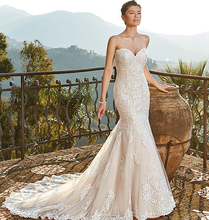 Romantic Fit Mermaid Wedding Dress Backless Sweetheart Tulle Bridal Gown With Lace Appliques New Arrival Cuatom Made