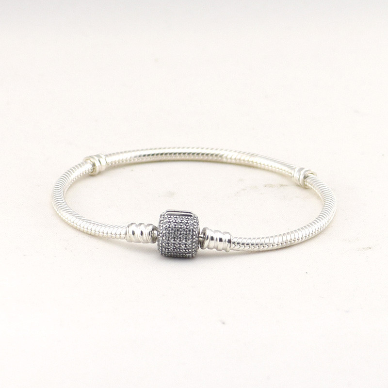все цены на Cylinder Original 925 Sterling Silver Bracelet Women Fits snake Original Charms Jewelry With Clear CZ Sterling Silver Jewelry онлайн