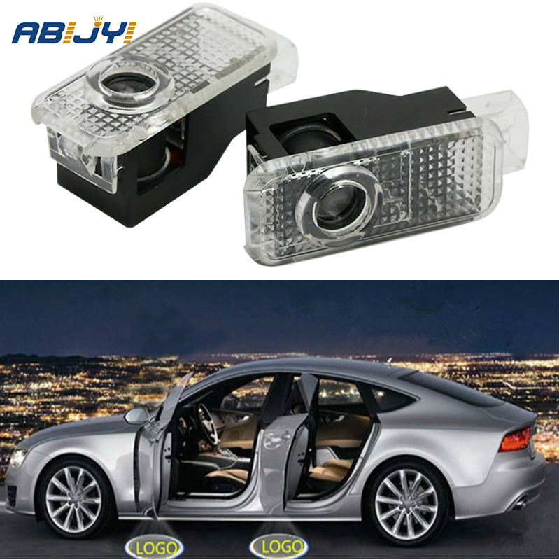 2x LED Car Door Welcome Light Shadow Lamp Accessories For Audi A4 B6 B8 A1 A3 A6 C5 A5 A8 80 A7 Q3 Q5 Q7 TT R8 Projector Lights