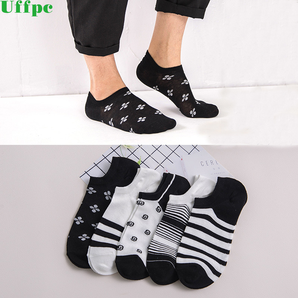 5 pairs/lot Summer petal stripe Invisible Man Socks slippers Male Socks Cotton Silica Gel Non-slip Shallow Mouth Socks