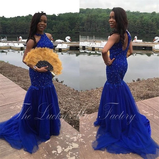 2017 Mermaid Long Royal Blue Prom Dresses Hollow Back Tulle Sparkly