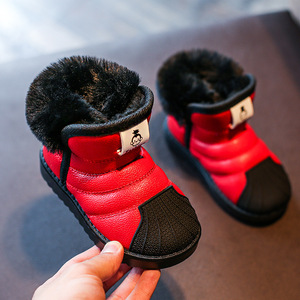 Image 2 - ילדים בנות שלג נערי נעלי חורף חם קטיפה רך תחתון ילדי אופנה תינוק בני פעוט נעליים