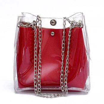 Women Small Bucket Bags Plastic Transparent Totes Composite Chain Bag Female Mini Jelly Handbags