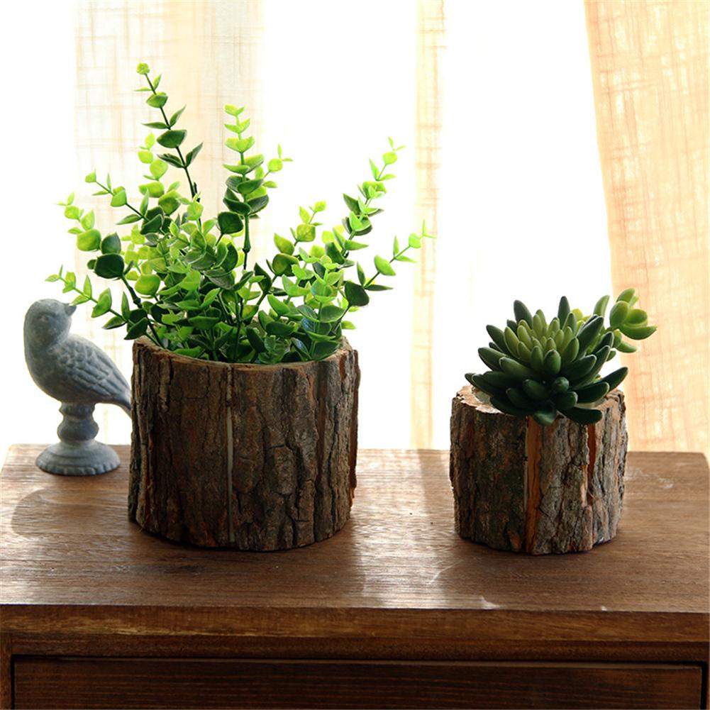 CC Desktop Forest Style Natural Wooden Small Flower Pots With Bark For Succulents Plant Ornaments Special Home Garden Decoration