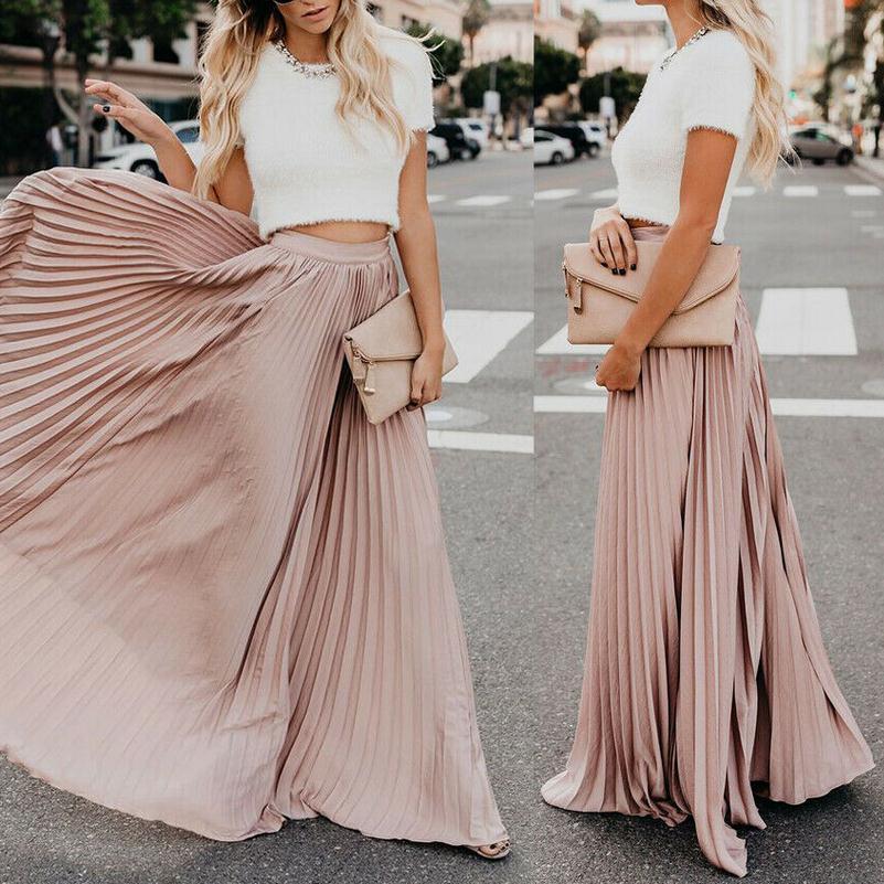 Popular Skirts 2019 New Women Boho Chiffon Skirt Femme Long Maxi Skirts Ladies Beach Pleated Sundress Skirt Of Thin See-Through