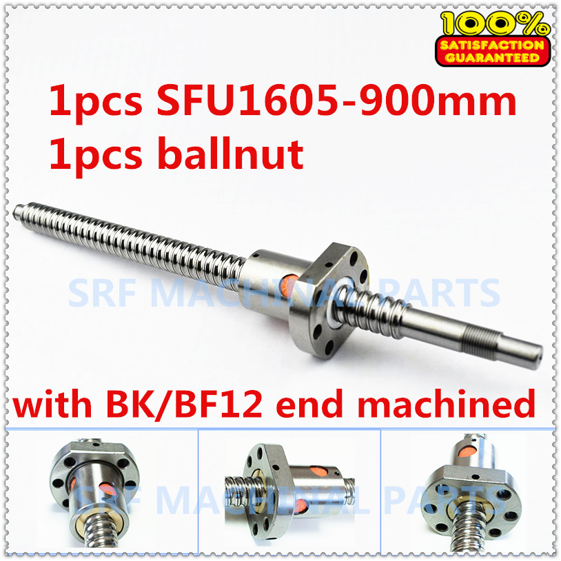 Zero Backlash SFU1605 Ballscrew set:1pcs 16mm Rolled Ball screw SFU1605 L=900mm+1pcs single Ballnut with end mahicned CNC Part sfu1605 ball screw l650mm ballscrew with sfu1605 single ballnut for cnc