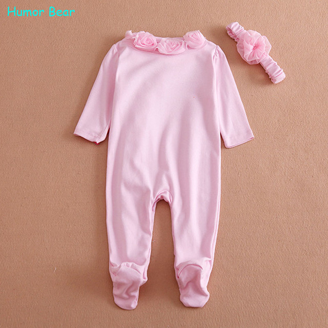Humor Bear NEW  Newborn Baby Girl Clothes Bow/Flowers Romper Clothing Set Jumpsuit & Headband 2 PC Cute Infant Cirls Rompers