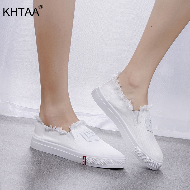 цена на KHTAA Women Flats Canvas Slip On Autumn Loafers Vulcanized Ladies Thick Bottom Sewing Lazy Shoes Female Fashion Casual Footwear