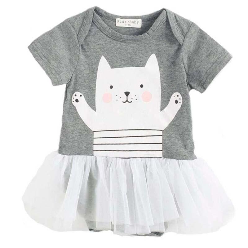 Mini robe en dentelle à manches courtes pour bébé, tenue de bal, imprimée de dessin animé, Animal chat mignon, princesse, décontractée, vêtements de fête d'anniversaire d'été