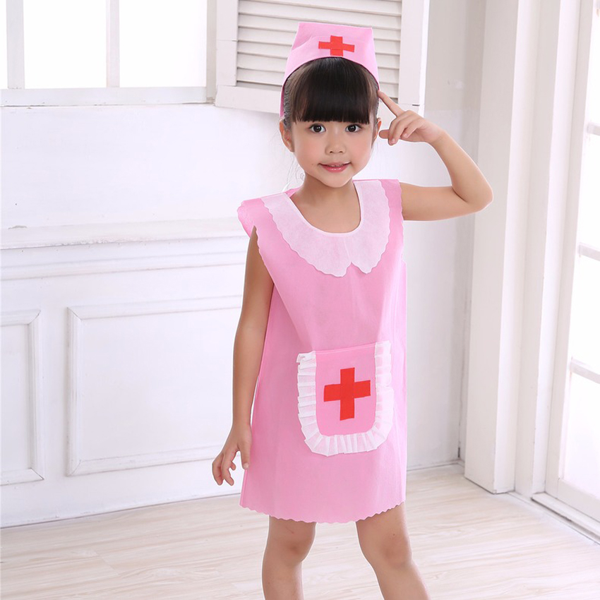 Family Matching Clothes Kids Girls Medical Uniform Nurse Cosplay Costume Performance Halloween Party Wear Women Girls Dress