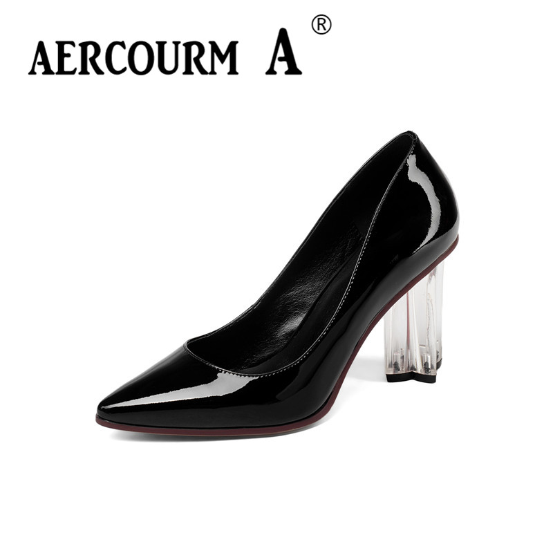 Aercourm A Spring Autumn Women Bright Leather Shoes 2018 High Heels Pumps Crystal Heel Pumps Dress Shoes Woman Brand Shoes Z310 siketu 2017 free shipping spring and autumn women shoes fashion sex high heels shoes red wedding shoes pumps g107