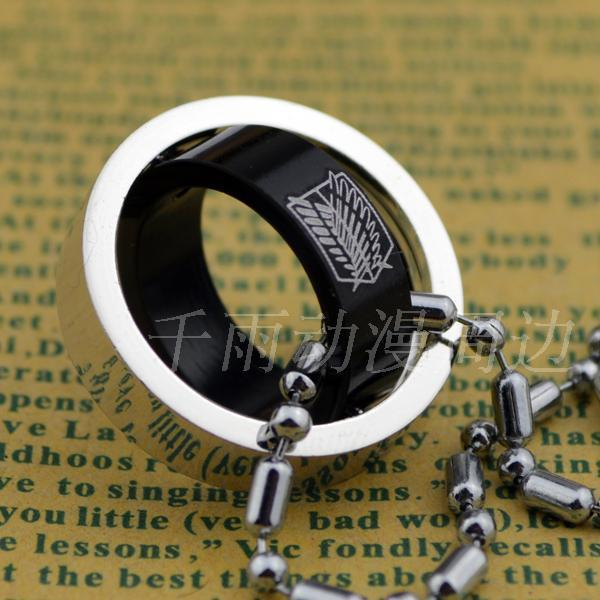 Attack On Titan Black Giant Double Rotating Ring Necklace