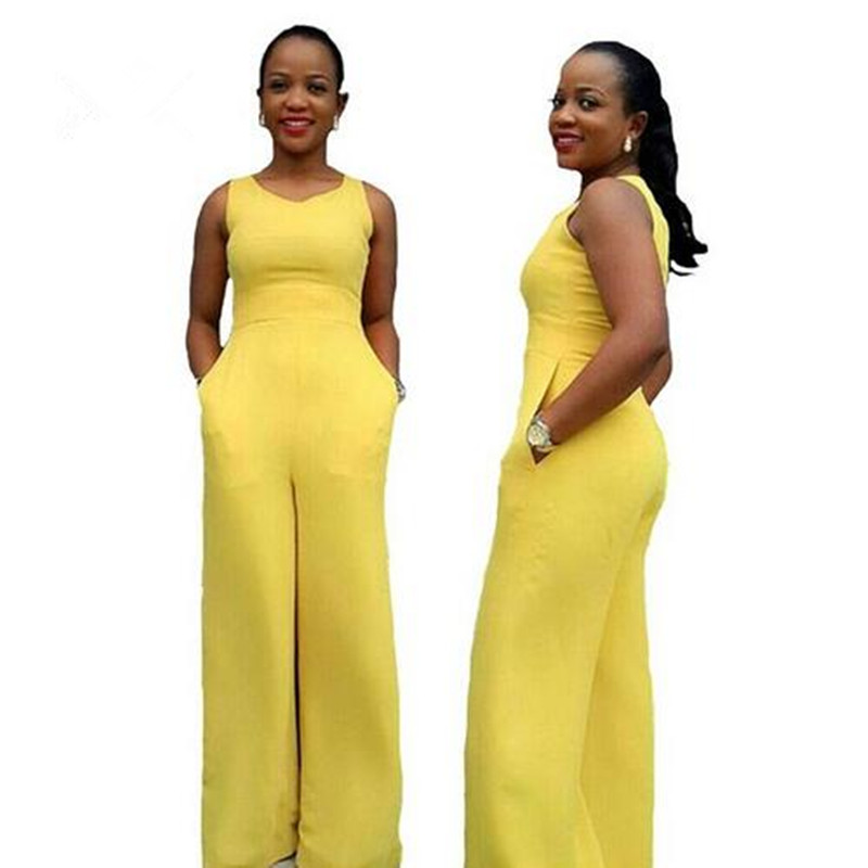 Summer Women 2018 Solid Yellow Color Jumpsuit O Neck Lace 101d2228998
