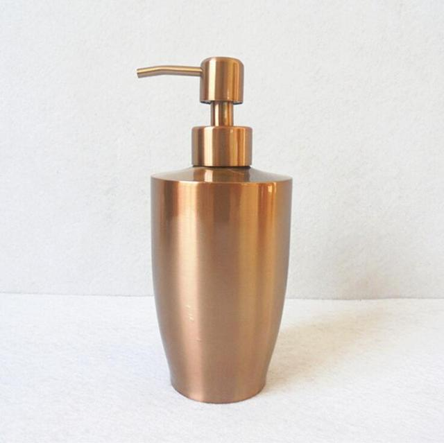Hotel 304 stainless steel 400ml capacity hand washing liquid bottle, Bathroom products pressing type hand soap dispenser gold