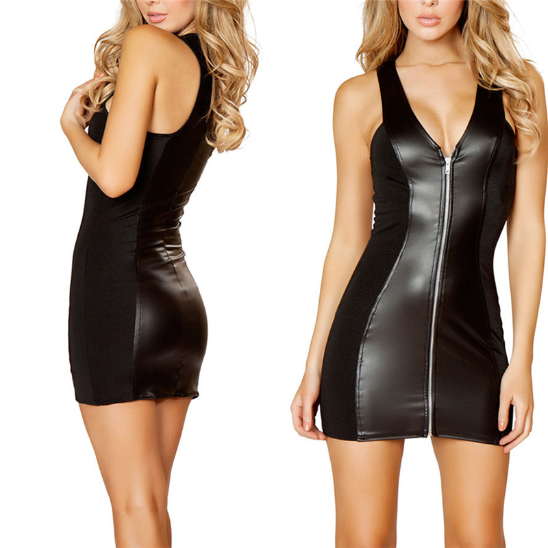 Sexy Party Bodycon Dress Women Bandage Dress Ladies Latex Leather Dress Women's Strappy Zipper Clubwear Mini Dress Black Catsuit