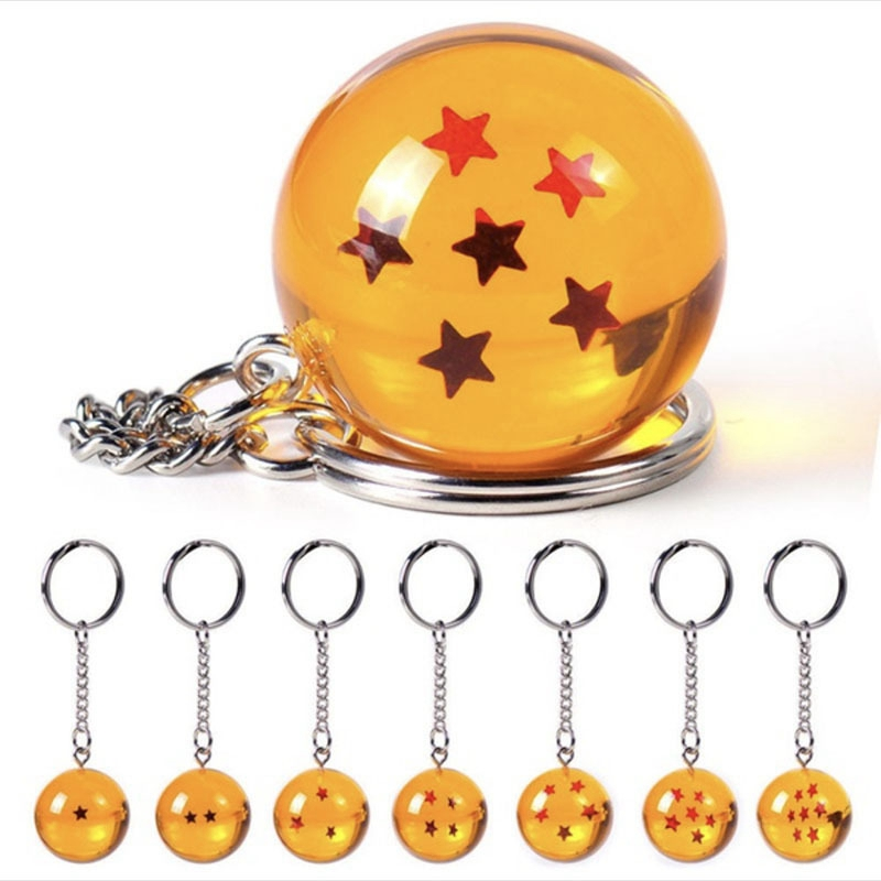 Keychain Pendant Star Japan Cartoon Anime Figures Dragon Ball Keyring Ornament Stars Crystal Ball Keyring PVC Pendant key holder(China)