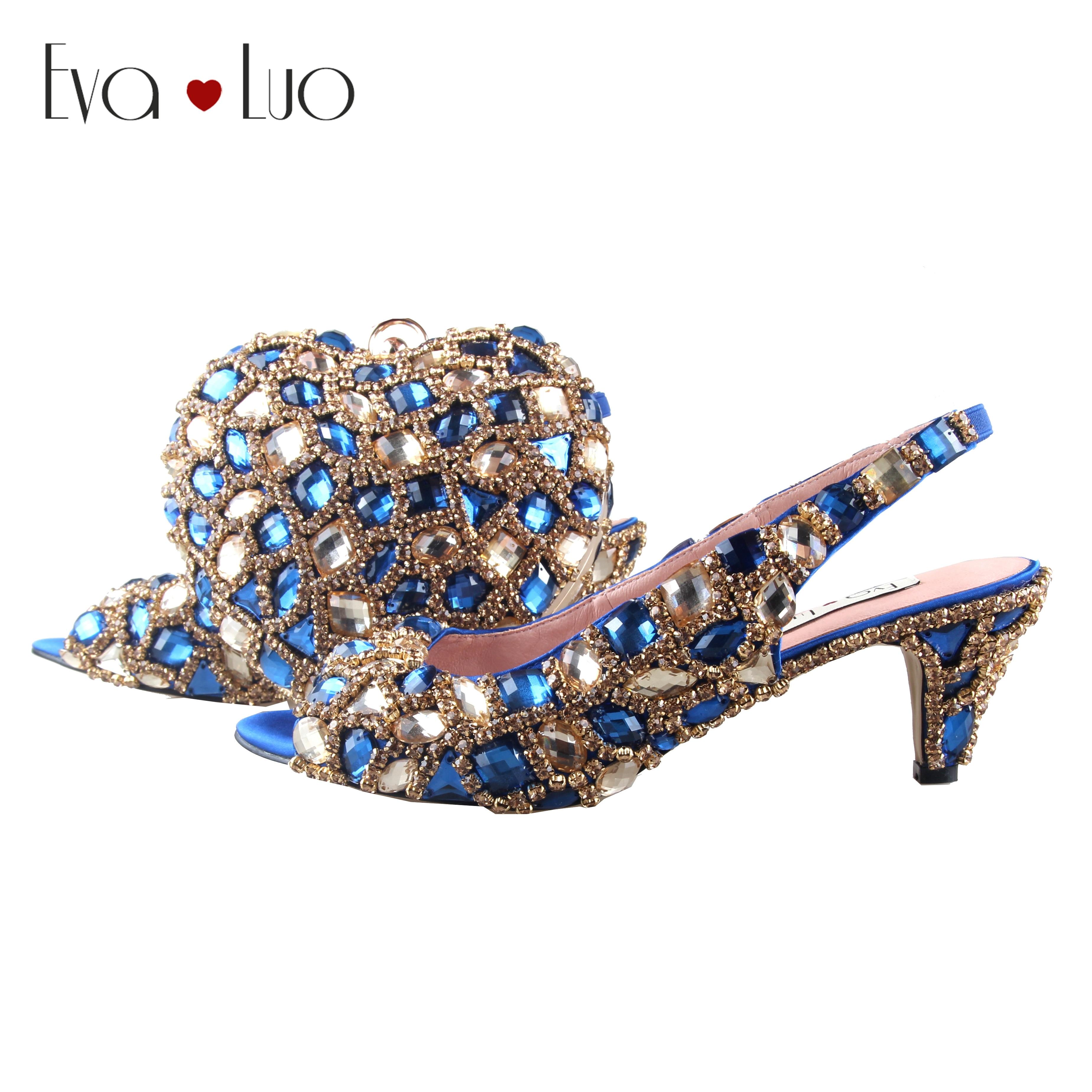 BS1037 Custom Made Gold Royal Blue Rhinestones Shoes With Matching Bag Low Heel Slingbacks Women Shoes
