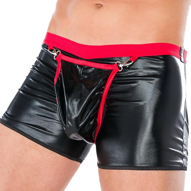 Underwear Boxers Shorts Open-Pouch-Bag Sexy Men Plus-Size Cool Black Male 1PCS Sheathy