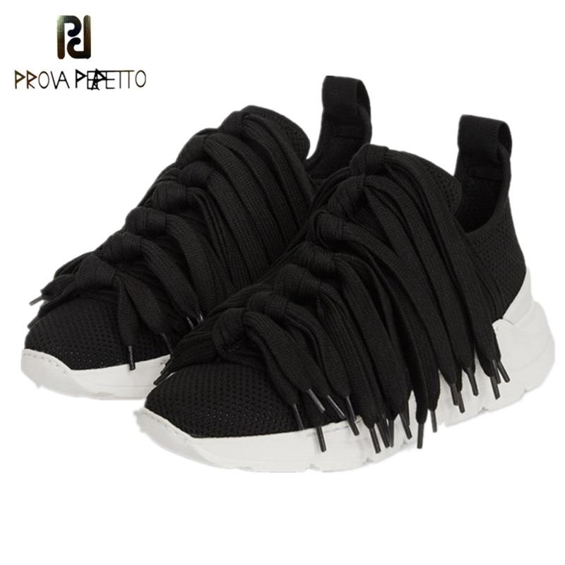 Prova perfetto tassels 여성 스니커즈 통기성 메쉬 뜨개질 신발 여성 웨지 힐 스니커즈 블랙 캐주얼 신발 바구니 femme-에서여성용 플랫부터 신발 의  그룹 1