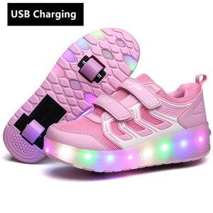 Image 5 - หนึ่ง/สองล้อUSBชาร์จรองเท้าผ้าใบLED Light Rollerรองเท้าสเก็ตสำหรับเด็กLEDรองเท้าเด็กผู้หญิงรองเท้ารองเท้าlight Up Unisex