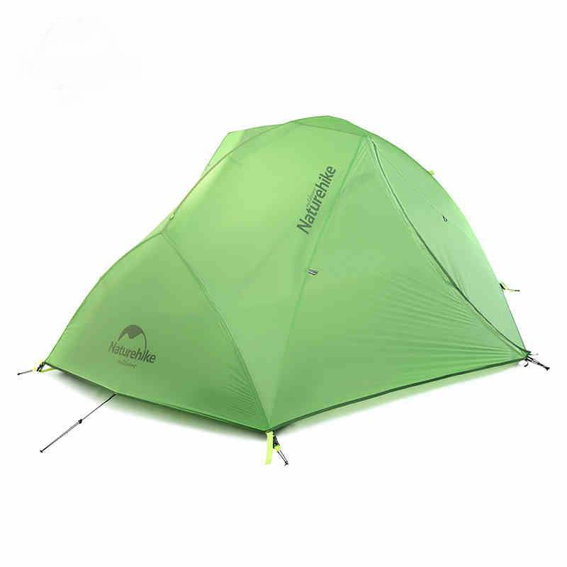 Naturehike 2 Person Nylon Silikonbeläggning Vandringstält Dubbelskikt Vattentät PU4000 Aluminium Rod Climbin Mountain Single Tents